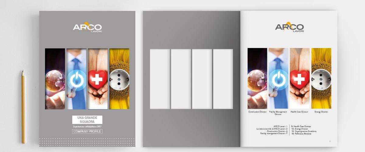Arco Lavori: Brochure dettaglio, chiusa e aperta